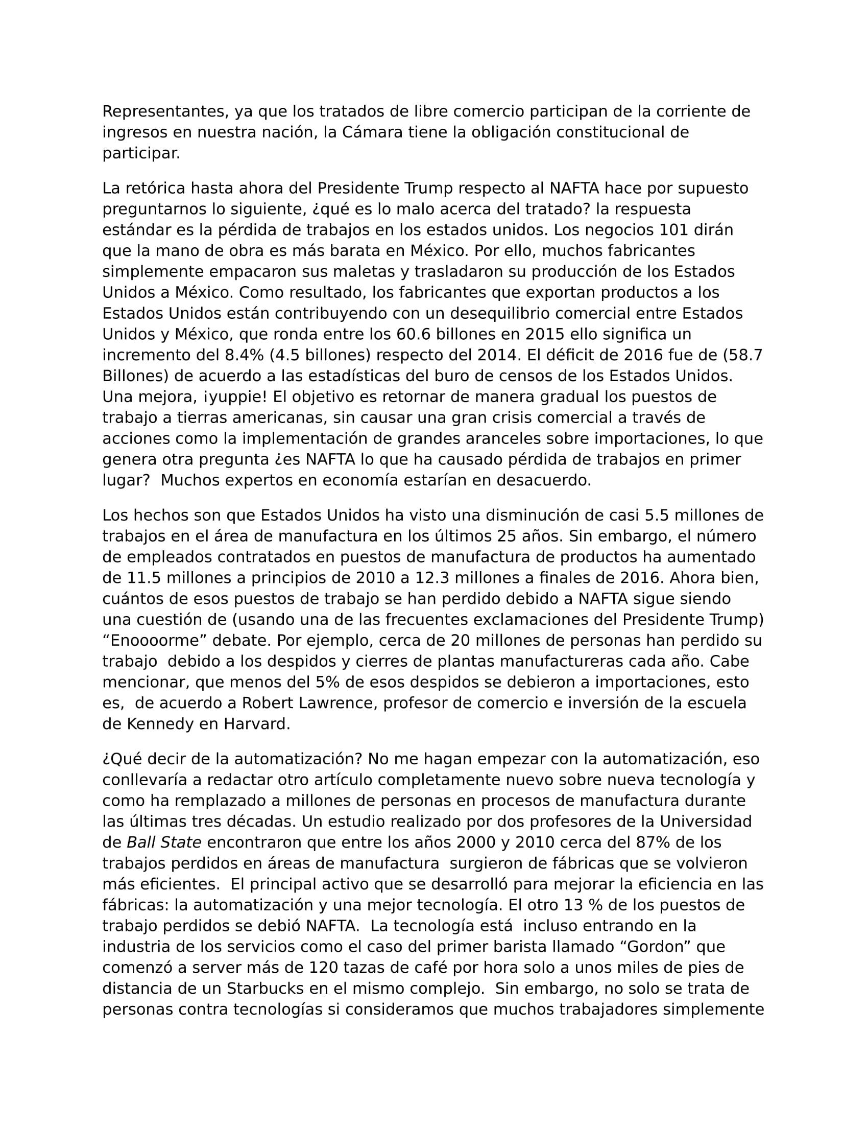 A renegocitation of NAFTA... Spanish Translation CHS-2