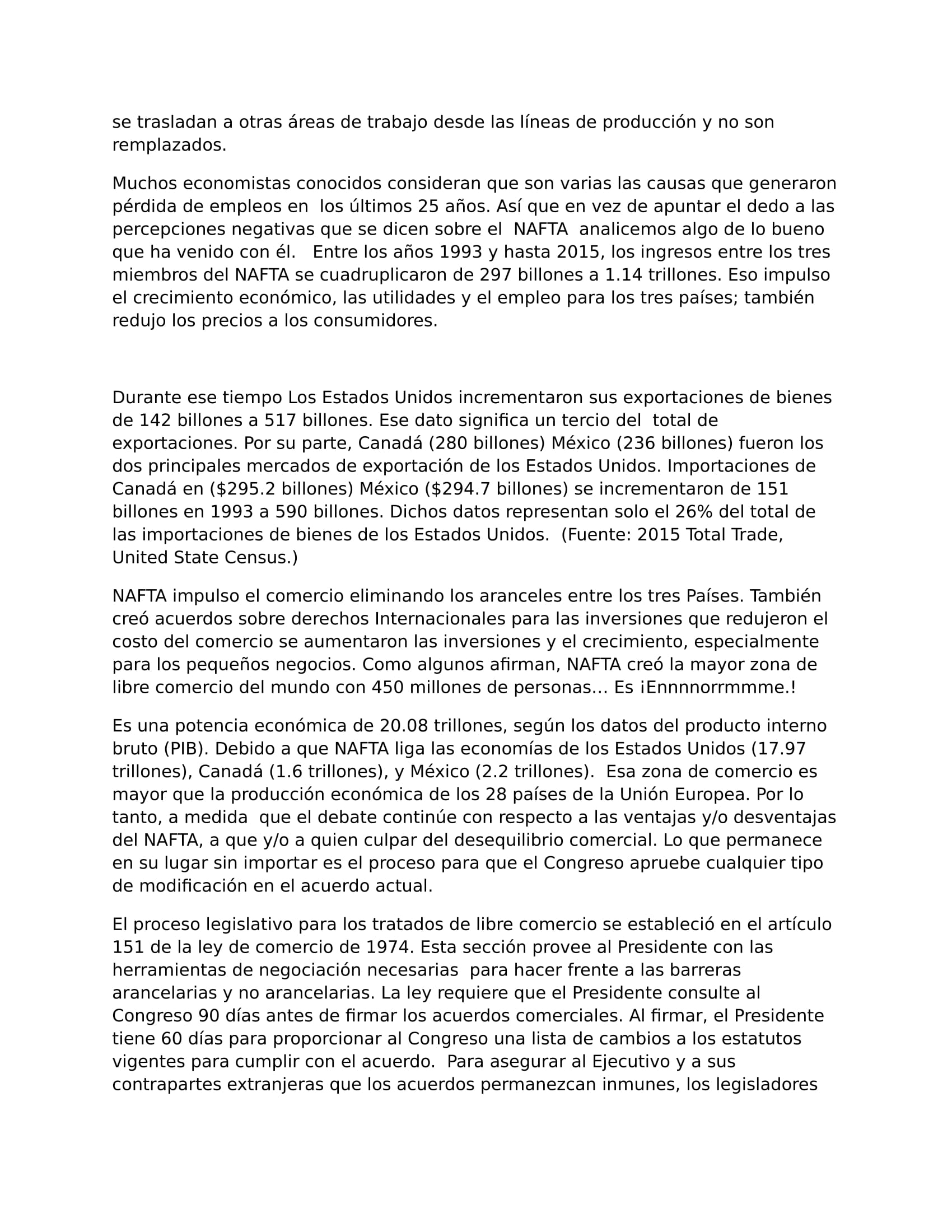 A renegocitation of NAFTA... Spanish Translation CHS-3