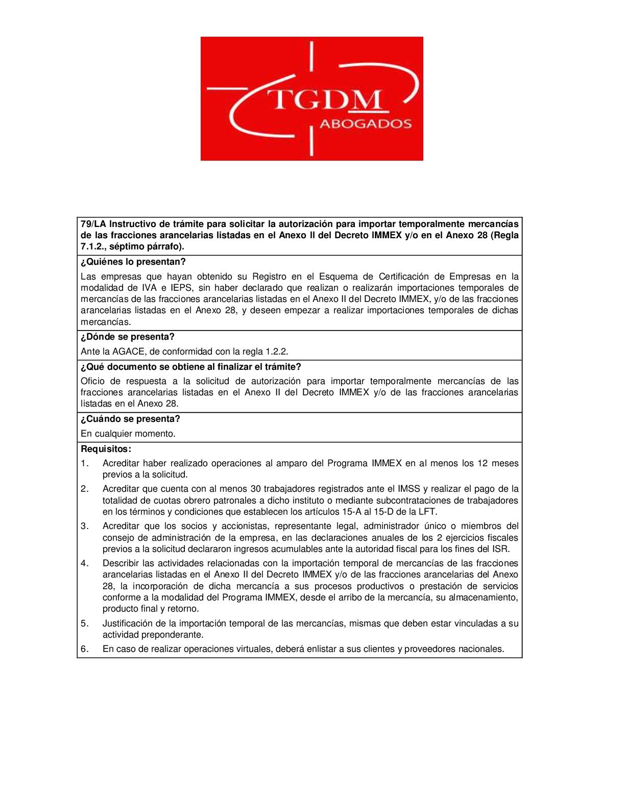 Instructivo de tramite para solicitar autorizacion para importar temporalmente mercancias de las fracciones arancelarias listadas en el Anexo II del decreto IMMEX y-o en el Anexo 28.-001